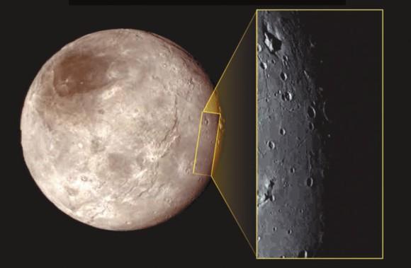 Спутник Плутона Харон. В левом верхнем углу врезки видна странная деталь рельефа — гора в углублении. Размер врезки по вертикали — около 390 км
