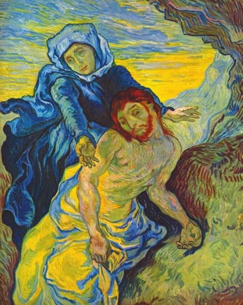 Винсент Ван Гог. Пьета (по мотивам Делакруа). Pietà (naar Delacroix). 1889. Холст, масло. 73 × 60,5 см. Музей Винсента Ван Гога (Амстердам)