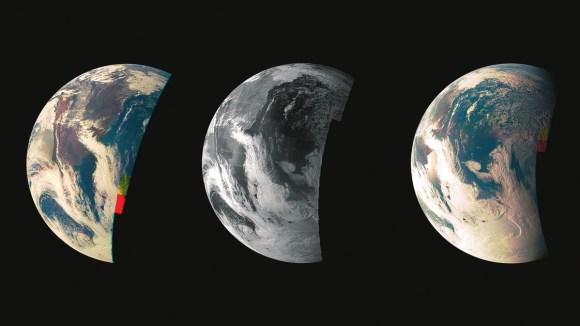 Снимки Земли, полученные JunoCam во время близкого пролета 9 октября 2013 года. «Юнона» совершила гравитационный маневр у Земли (в 559 км от ее поверхности) для разгона аппарата. Фото NASA/JPL-Caltech/MSSS