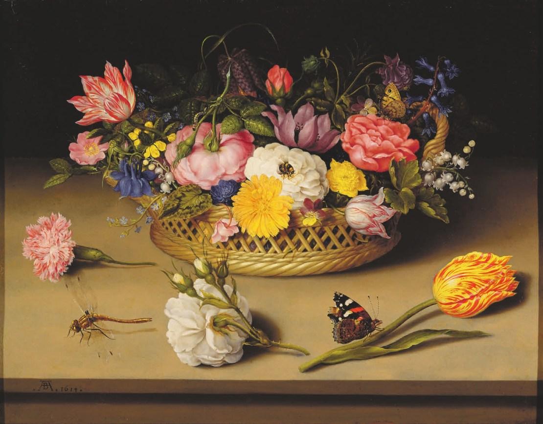 Рис. 3. Амброзиус Босхарт-старший (Ambrosius Bosschaert de Oude, 1573–1621). Натюрморт с плетеной корзиной