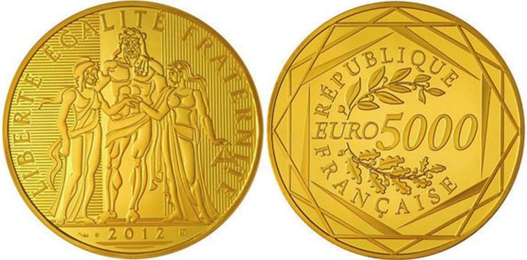 8. 5000 евро, Франция, 2012 год (news.coinupdate.com)