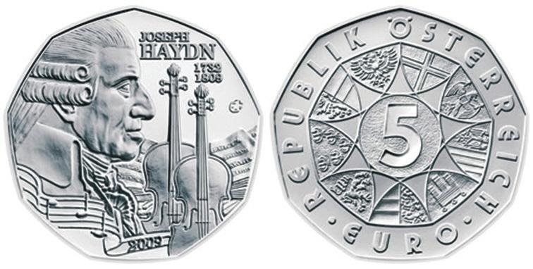 7. Австрия, 5 евро, 2009 год — Иосиф Гайдн (CoinNews.net)