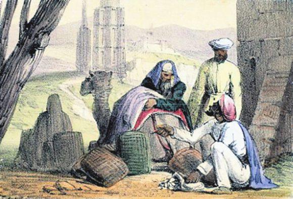 10. Арабский торговец с деньгами-каури, гравюра 1845 года