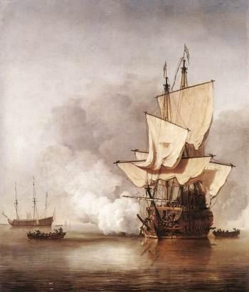 Виллем ван де Вельде-младший (1633–1707). Орудийный залп (ок. 1680). Рейксмузей (Амстердам)