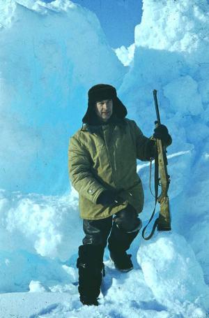 Евгений Александров на Северном полюсе (СП-30), 1989 год