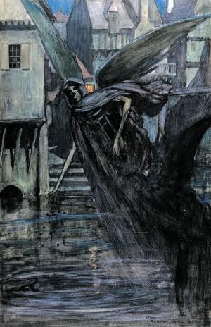 Ангел смерти, отравляющий воду. Изображение времен эпидемии брюшного тифа, около 1912 года
