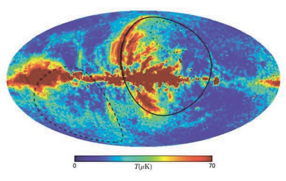 Рис. 1. Карта, отражающая величину поляризации космического фона, снятая WMAP. Контурами показаны оболочки пузырей от Близких взрывов сверхновых