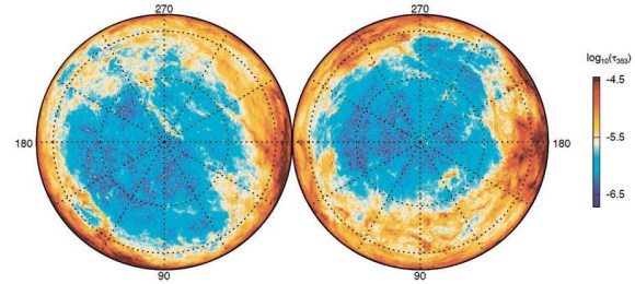 Рис. 1. Карта пыли в Галактике. Темно-красный цвет соответствует большему количеству пыли, темно-синий — меньшему. Показаны северное и южное галактические полушария, в центре — галактические полюса (из статьи A. Abergel ет al. arXiv: 1312.1300)