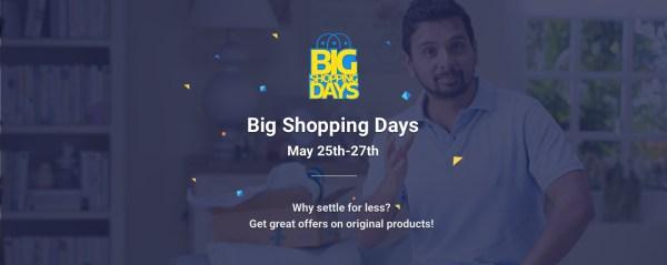 Big Shopping Days on Flipkart. Offer Period : May 25,26,27 2016