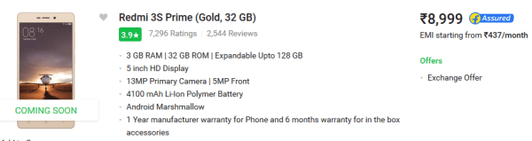 Redmi-3s-gold -2gb-4100mah-battery-3gb-ram