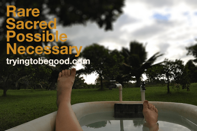 Rare, sacred, possible, necessary. —TryingtobeGood.com