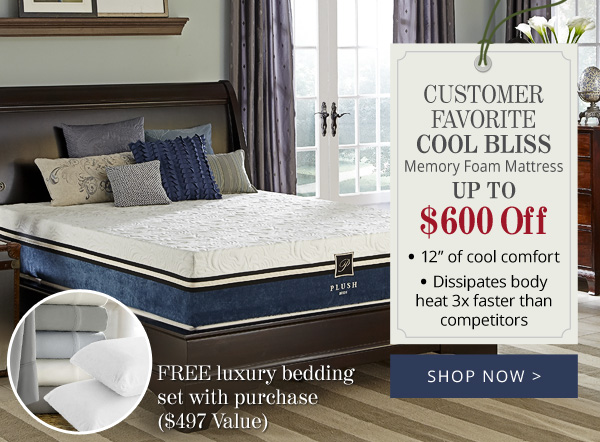 Try Any Mattress of Your Choice RISK-FREE @ Your Home W/ Free Delivery Cool_Bliss_Memory_Foam_Mattress PlushBeds (Memorial Day Sale)