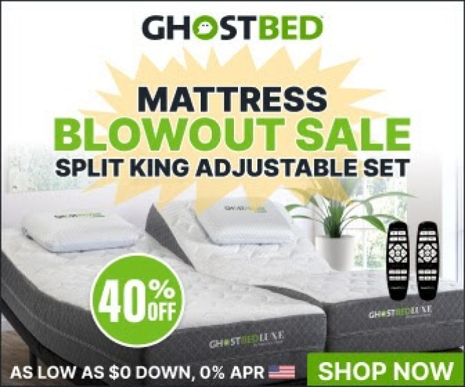 Try Any Mattress of Your Choice RISK-FREE @ Home W/ Free Delivery split-king-adjustable-ghostbed Best Split-King Adjustable Beds (with Massage) Comparison Review - Spring Sale