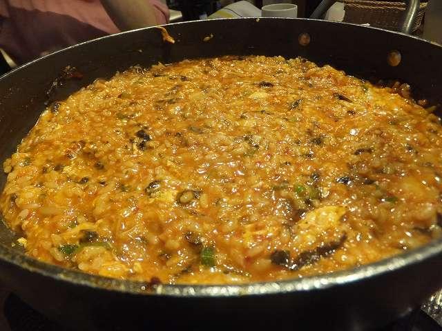 トッポギ鍋で作ったおじや:新大久保韓国料理屋