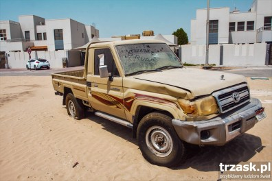 An abardoned pick-up on an estate in Abu Dhabi.