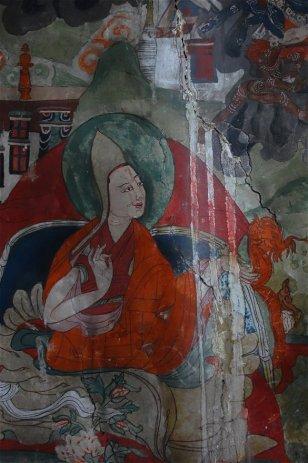 Monastère de Tiksey - Dégats causés par le ruissellement sur les fresques intérieures