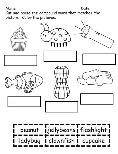 Compound Word Worksheets-Print and Go
