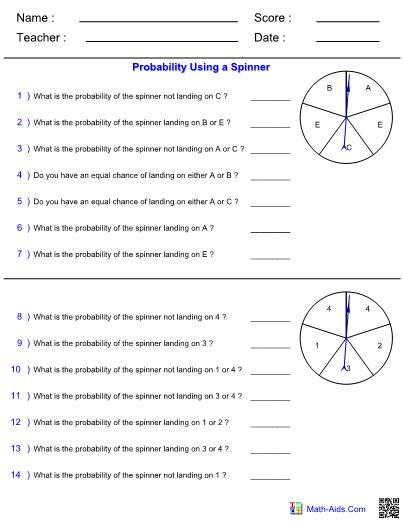 Probability Worksheets With Answer Sheet I Teachersherpa