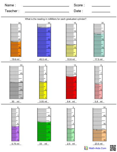 Graduated Cylinder Worksheet Answers : graduated, cylinder, worksheet, answers, Measurement, Graduated, Cylinder, Worksheet