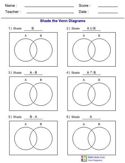 Venn Diagram 2Set Shade Worksheet