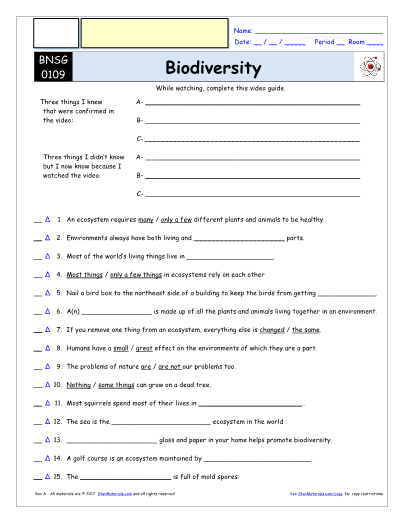 Bill Nye Biodiversity Worksheet