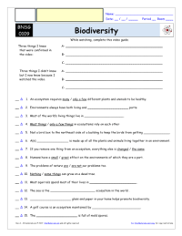 Bill Nye Biodiversity Worksheet - The Large and Most ...