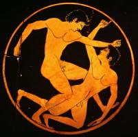 Αγώνας πάλης, από αγγείο του 520π.Χ.