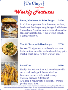 Weekly Features Sept 30 to Oct 6, 2016