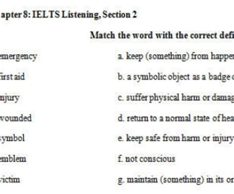 matching gap fill vocabulary exercise pre intermediate ielts