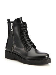 prada combat boots lyst prada spazzolato combat boots in black
