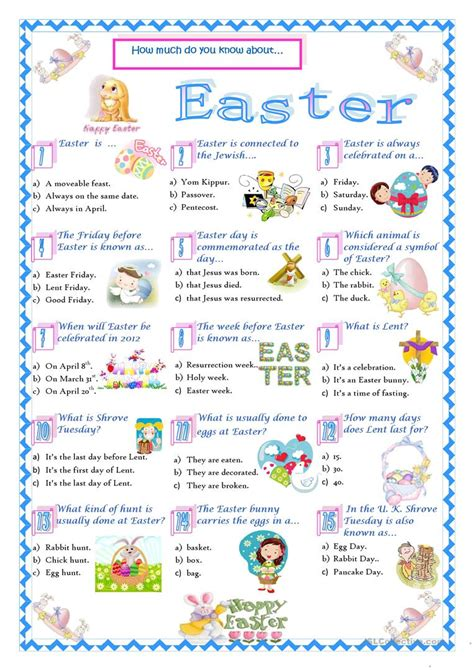 easter quiz worksheet free esl printable worksheets teachers