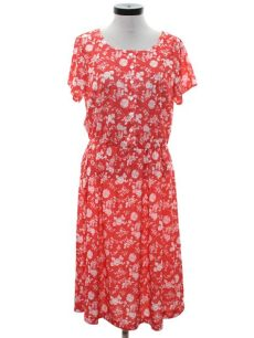 haband womens clothes vintage haband 1970s dress 70s haband womens coral and white slinky polyester