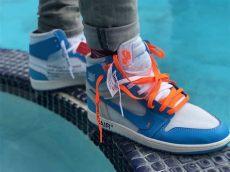 2018 white x air 1 white powder blue cone aq0818 148 sole look - Jordan 1 Off White Blue On Feet