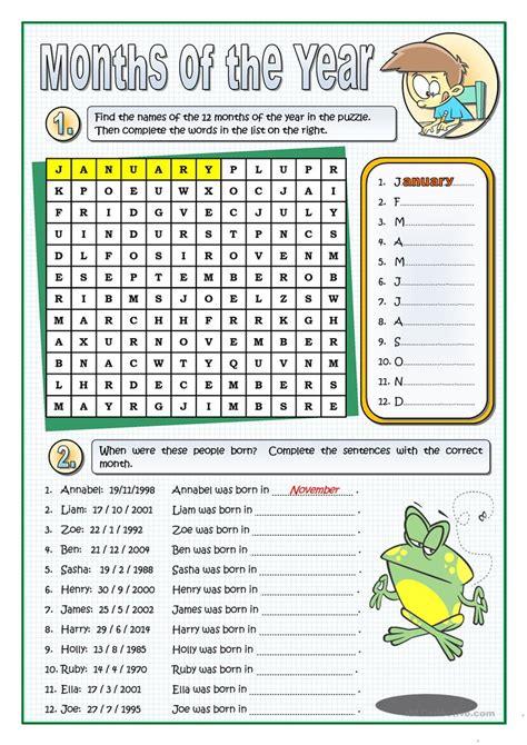 months year worksheet free esl printable worksheets teachers