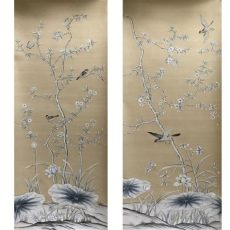 silk wallpaper chinoiserie chinoiserie painted wallpaper on silver grey slub silk ec wallpaper china manufacturer