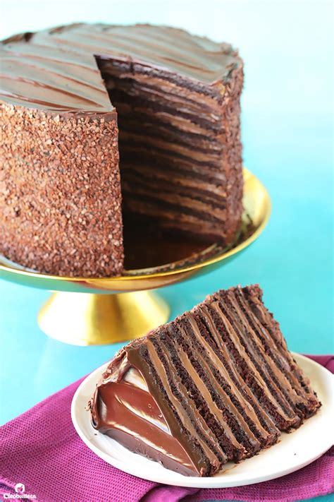 twelve layers chocolate cake filled alternating layers silky
