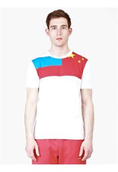 gosha rubchinskiy flag t shirt gosha rubchinskiy white flag print t shirt in for lyst
