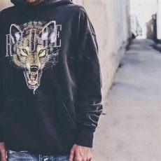 2019 18aw rhude la limited edition rhinestone wolf hoodie retro high fashion - Rhude Wolf Hoodie
