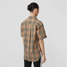 vintage burberry shirt womens sleeve vintage check cotton oversized shirt in archive beige burberry united states