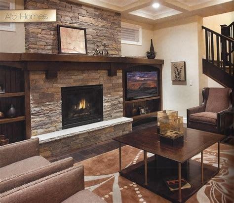 natural stone fireplace wood mantel trinity