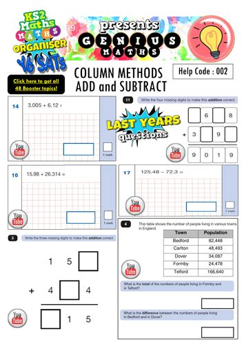 ks2 sats column method booster pack addition subtraction