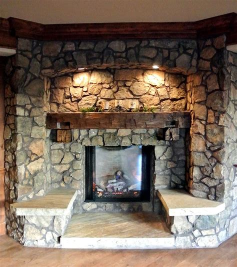 love rustic stone fireplaces