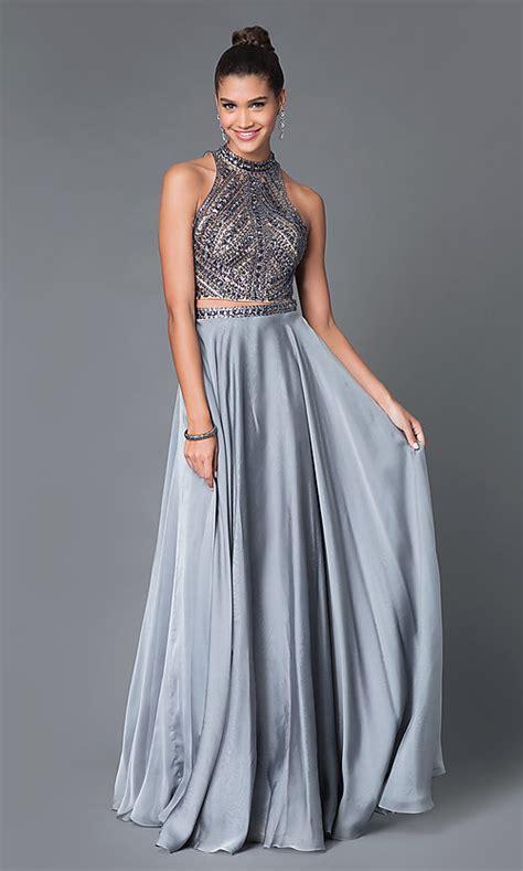 piece jeweled high neck prom dress promgirl