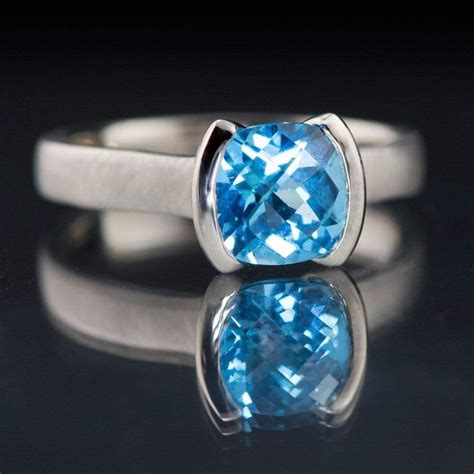 cushion london swiss blue topaz bezel statement ring