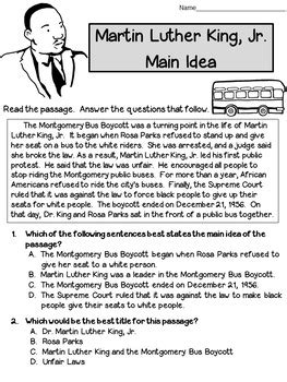main idea title worksheets martin luther king test