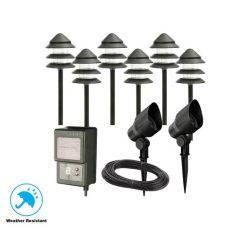 hton bay outdoor lighting kit hton bay low voltage black outdoor halogen landscape path light kit 8 pack ebay