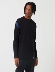 fred perry x raf simons sale lyst fred perry x raf simons detail sleeve t shirt in black for