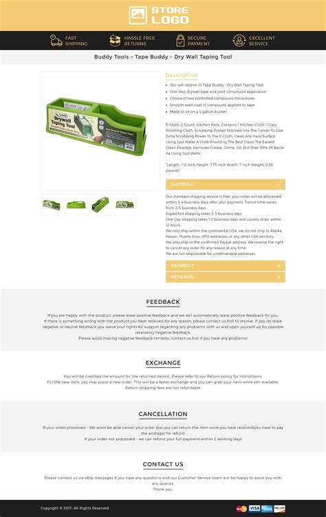create free responsive ebay listing auction html template