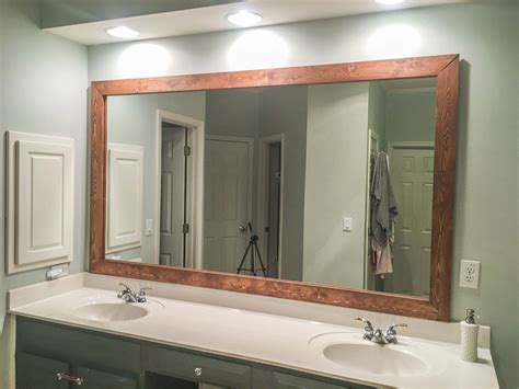 diy upgrade bathroom mirror stained wood frame building
