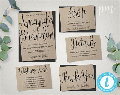 wedding invitation template suite calligraphy script